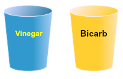 cup of vinegar and bicarb