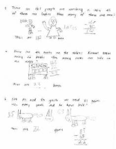 math worksheet with drawings