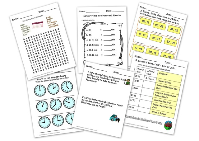 printable clock worksheets